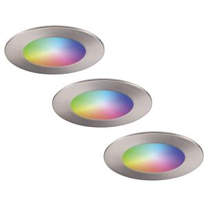 Homeylux Set of 3 smart WiFi LED recessed spotlights Aura RGBWW stainless steel IP44 1050lm