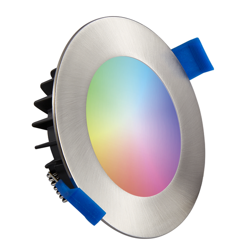 Homeylux Set van 3 stuks smart WiFi LED inbouwspots Aura RGBWW RVS IP44 1050lm
