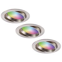 Set of 3 smart WiFi LED recessed spotlights Luna RGBWW tiltable stainless steel IP44 1050lm
