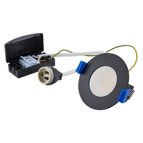 Homeylux Set of 3 smart WiFi dimmable RGBWW LED recessed spotlights Bari black 5 Watt IP65 splashproof