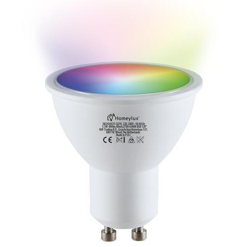 Homeylux Set of 6 smart WiFi dimmable RGBWW LED recessed spotlights Bari stainless steel 5 Watt IP65 splashproof
