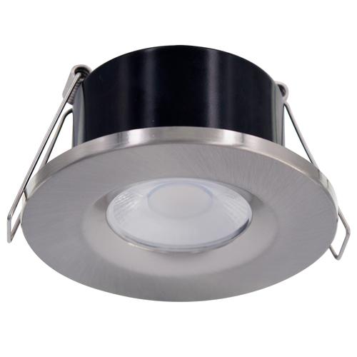 Homeylux Edelstahl gebürstet Abdeckring - Dimmbarer LED Einbaustrahler Venezia 6 Watt IP65
