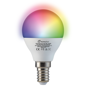 Homeylux Homeylux® E14 Smart WIFI  LED Bulb RGBWW 5.5 Watt 470lm P45 Dimmable