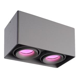 Homeylux Smart WiFi LED surface mounted ceiling spotlight Esto grey RGBWW  2 light GU10 IP20 tiltable