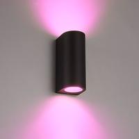 Smart WiFi LED wall light Douglas black RGBWW GU10 IP44 double-sided illuminating