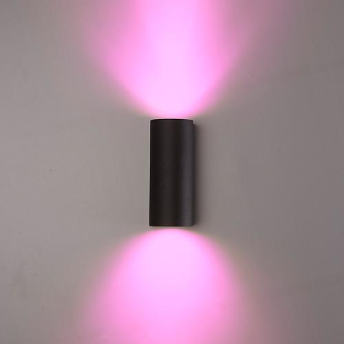 Homeylux Smart WiFi LED wandlamp Douglas zwart RGBWW GU10 IP44 tweezijdig oplichtend