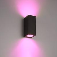 Smart WiFi LED wall light Selma black RGBWW GU10 IP44 double-sided illuminating