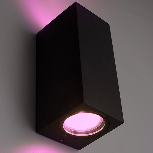 Homeylux Smart WiFi LED wandlamp Selma zwart RGBWW GU10 IP44 tweezijdig oplichtend