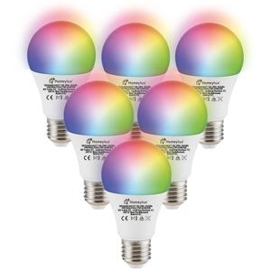 Homeylux Satz von 6 E27 SMART LED Lampen RGBWW Wifi 10 Watt 806lm Dimmbar