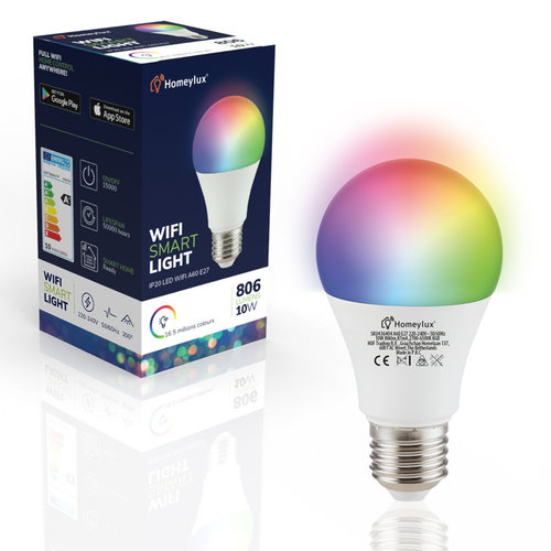 Homeylux Set van 6 E27 SMART LED Lampen RGBWW Wifi 10 Watt 806lm Dimbaar