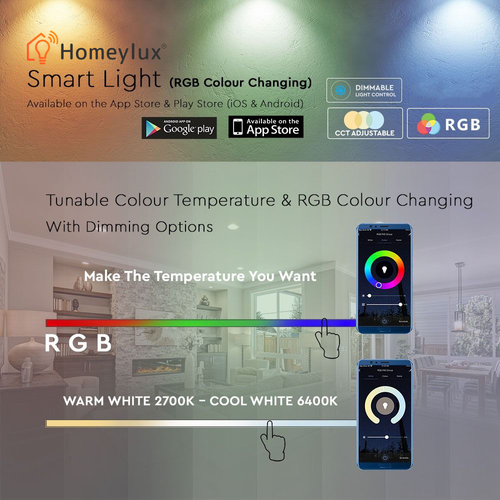 Homeylux Set van 3 E14 SMART LED Lampen RGBWW Wifi 5,5 Watt 470lm C37 Dimbaar