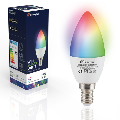 Homeylux Set van 6 E14 SMART LED Lampen RGBWW Wifi 5,5 Watt 470lm C37 Dimbaar