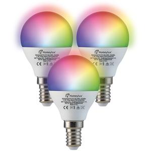 Homeylux Satz von 3 E14 SMART LED Lampen RGBWW Wifi 5,5 Watt 470lm P45 Dimmbar