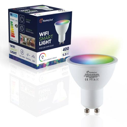 Homeylux Intelligenter WiFi LED Deckenanbaustrahler Esto Weiß RGBWW 2 Lichter GU10 IP20 Kippbar