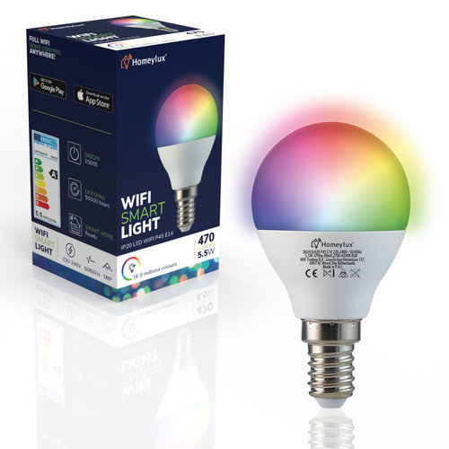 Homeylux Homeylux® E14 Smart WIFI  LED Lamp RGBWW 5.5 Watt 470lm P45 Dimbaar App Compatibel