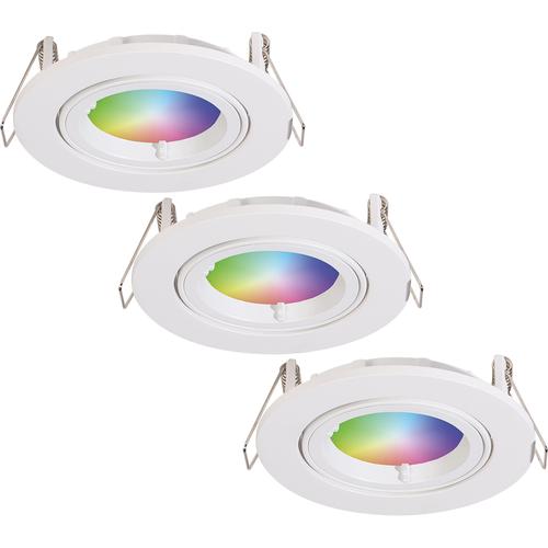 Homeylux Set of 3 smart WiFi LED recessed spotlight Dublin RGBWW tiltable white IP20