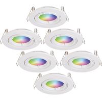 Set of 6 smart WiFi LED recessed spotlight Dublin RGBWW tiltable white IP20