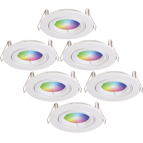 Homeylux Satz von 6 intelligenten WiFi LED-Einbaustrahler Dublin RGBWW Schwenkbar Weiß IP20