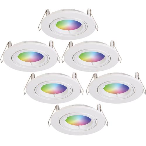 Homeylux Set of 6 smart WiFi LED recessed spotlight Dublin RGBWW tiltable white IP20