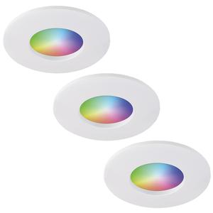 Homeylux Satz von 3 intelligenten WiFi RGBWW LED-Einbaustrahlern Barcelona Weiß 5 Watt IP44