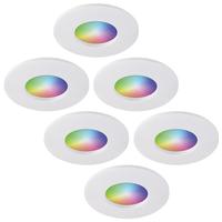 Set of 6 smart WiFi RGBWW LED recessed spotlights Barcelona white 5 Watt IP44