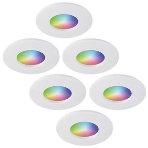 Homeylux Satz von 6 intelligenten WiFi RGBWW LED-Einbaustrahlern Barcelona Weiß 5 Watt IP44