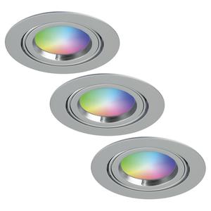 Homeylux Set of 3 smart WiFi LED recessed spotlight Jose RGBWW tiltable stainless steel IP20
