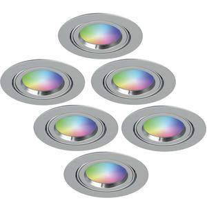 Homeylux Satz von 6 intelligenten WiFi LED-Einbaustrahler Jose RGBWW Schwenkbar Edelstahl IP20