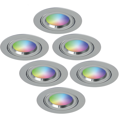 Homeylux Set van 6 stuks smart WiFi LED inbouwspots Jose RGBWW kantelbaar RVS IP20