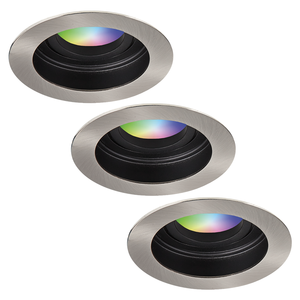 Homeylux Satz von 3 intelligenten WiFi LED-Einbaustrahler Mesa RGBWW Schwenkbar Edelstahl IP20