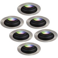 Satz von 6 intelligenten WiFi LED-Einbaustrahler Mesa RGBWW Schwenkbar IP20