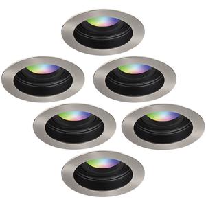 Homeylux Set van 6 stuks smart WiFi LED inbouwspots Mesa RGBWW kantelbaar IP20