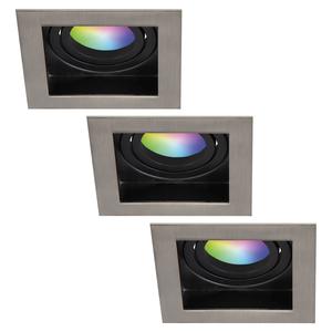 Homeylux Satz von 3 intelligenten WiFi LED-Einbaustrahler Modesto RGBWW Schwenkbar IP20