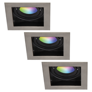 Homeylux Set of 3 smart WiFi LED recessed spotlight Modesto RGBWW tiltable IP20