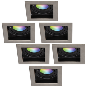 Homeylux Set van 6 stuks smart WiFi LED inbouwspots Modesto RGBWW kantelbaar IP20