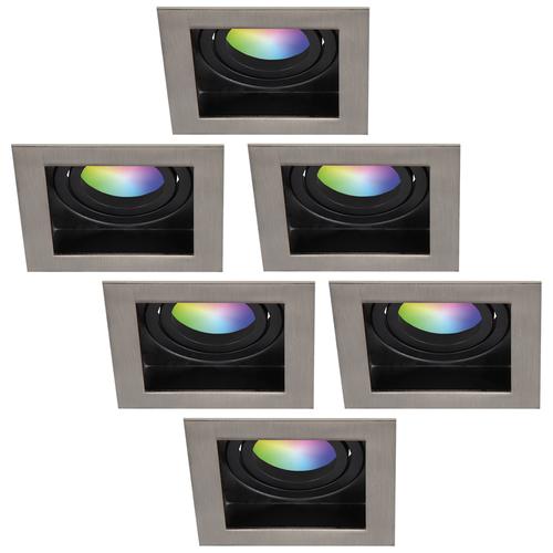 Homeylux Set of 6 smart WiFi LED recessed spotlight Modesto RGBWW tiltable IP20