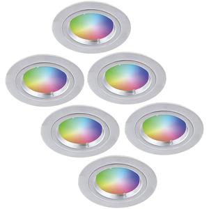 Homeylux Satz von 6 Intelligenten WiFi RGBWW LED-Einbaustrahlern Austin 5 Watt IP20