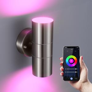 Homeylux Intelligenter WiFi LED-Wandleuchte Jasmin RGBWW GU10 rund beidseitig leuchtend Edelstahl IP44