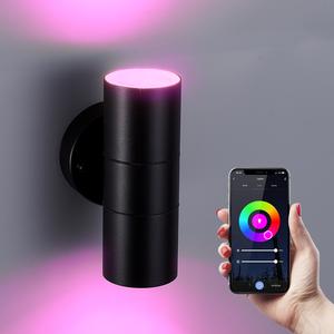 Homeylux Intelligenter WiFi LED-Wandleuchte Blenda RGBWW GU10 rund beidseitig leuchtend Schwarz IP44