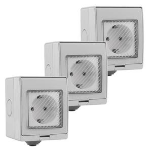 V-TAC Set van 3 slimme stopcontact spatwaterdicht Google Home & Amazon Alexa geschikt