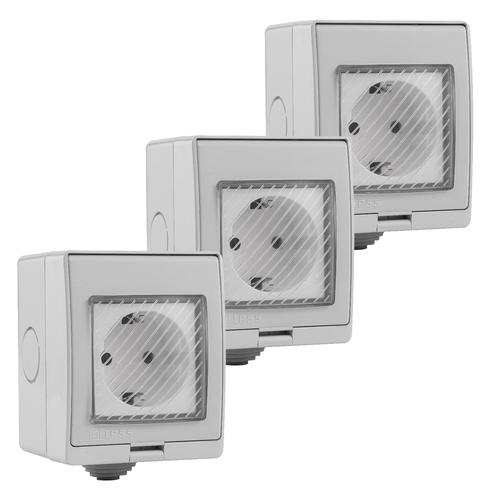 V-TAC Set of 3 Smart socket waterproof white - Connectable with Google Home & Alexa