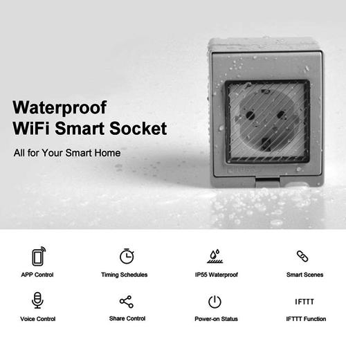 V-TAC Satz von 3 Intelligenten Wandsteckdose wasserdicht weiß - Anschließbar an Google Home & Alexa