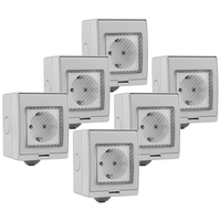 Set of 6 Smart socket waterproof white - Connectable with Google Home & Alexa