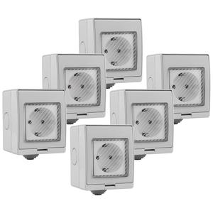 V-TAC Set van 6 slimme stopcontact spatwaterdicht Google Home & Amazon Alexa geschikt