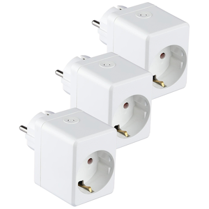 V-TAC Set of 3 white smart plug with USB port