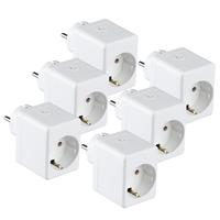 Satz von 6 Weißen Intelligenten Steckern mit USB-Anschluss