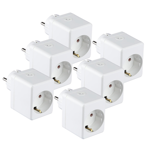 V-TAC Set of 6 white smart plug with USB port