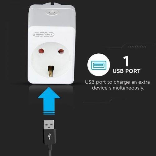 V-TAC Set van 6 witte slimme stekkers met USB poort