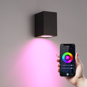 Homeylux Smart WiFi LED wall light Marion black RGBWW GU10 IP44