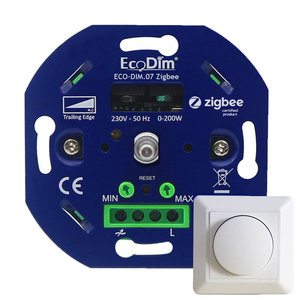 Ecodim Eingebauter intelligenter LED-Dimmer 0-200 Watt Phasen abschnitt Inklusive Abdeckrahmen und Knopf